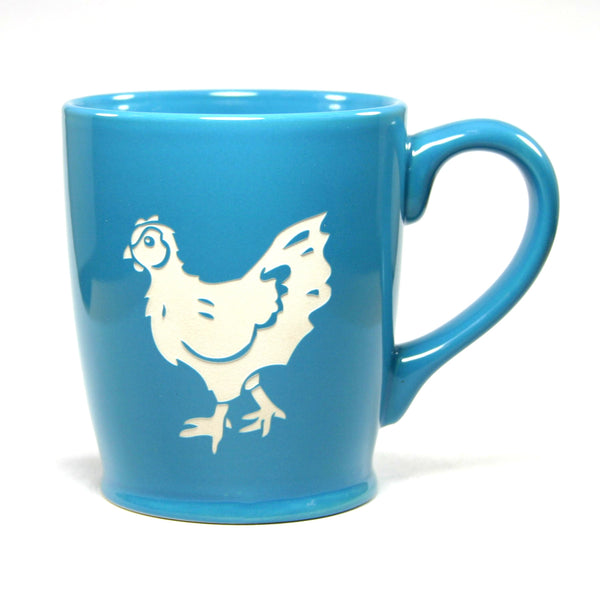 chicken coffee mug in sky blue