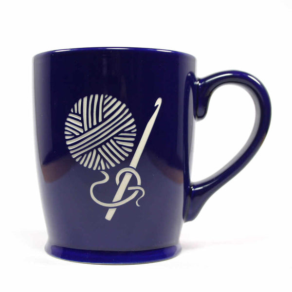 Crochet yarn ball coffee mug in navy blue