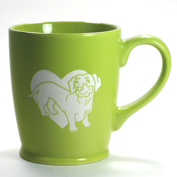 Dachshund dog mug in standard green, by Bread and Badger