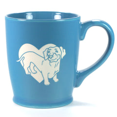 Dachshund dog mug in standard sky blue, by Bread and Badger