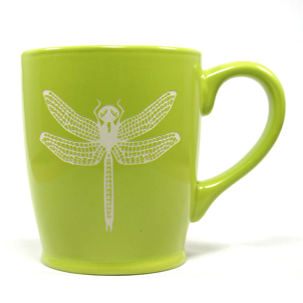 green dragonfly ceramic mug