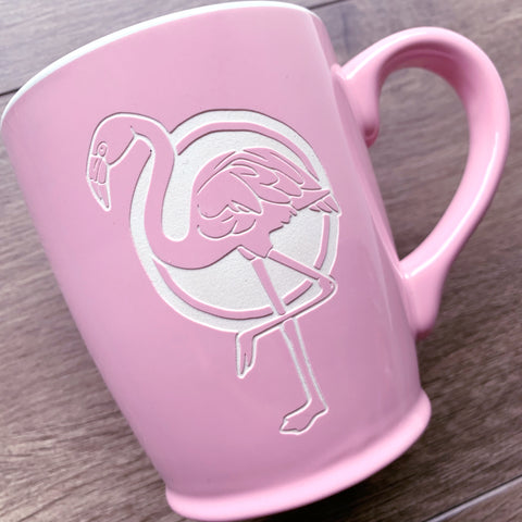 Pink Flamingo mug by Bread and Badger