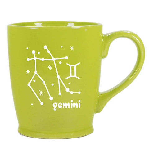 gemini constellation mug, green, by Bread and Badger