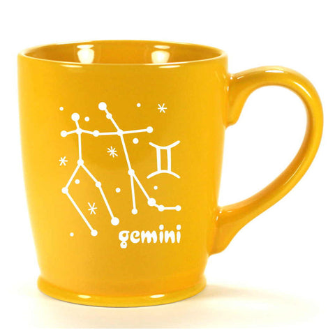 gemini constellation mug, yellow, by Bread and Badger