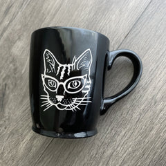 Glasses Cat engraved black mug by Bread and Badger