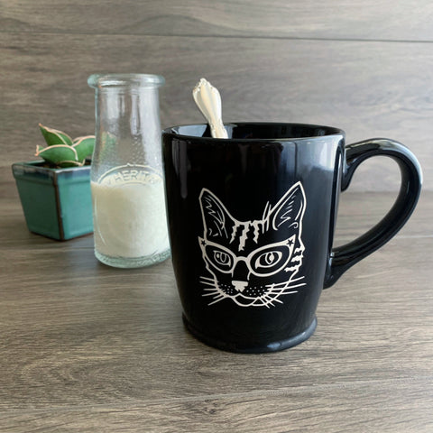 Glasses Cat black mug by Bread and Badger