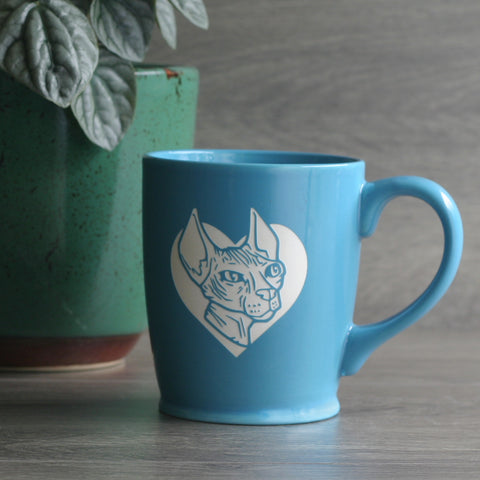 Hairless Sphynx Cat coffee cup in sky blue