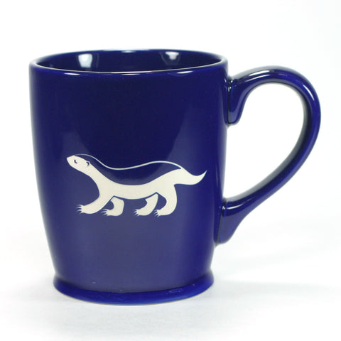 fierce honey badger mug, navy blue