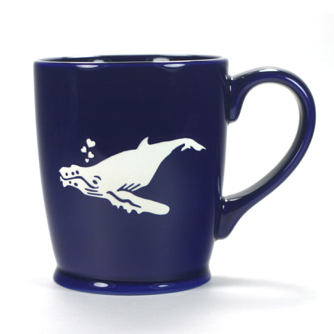 Humpback whale mug, Standard Navy Blue, by Bread and Badger