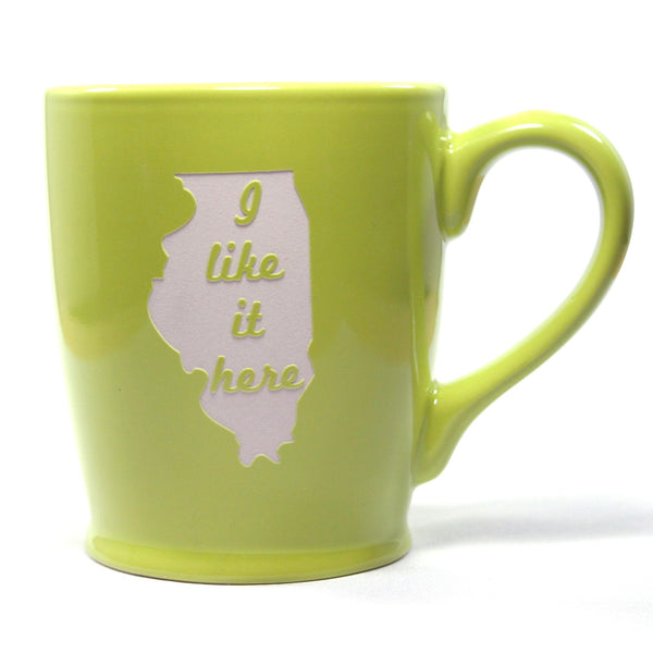 Illinois state mugs celery green