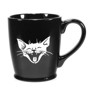 black laughing cat mug