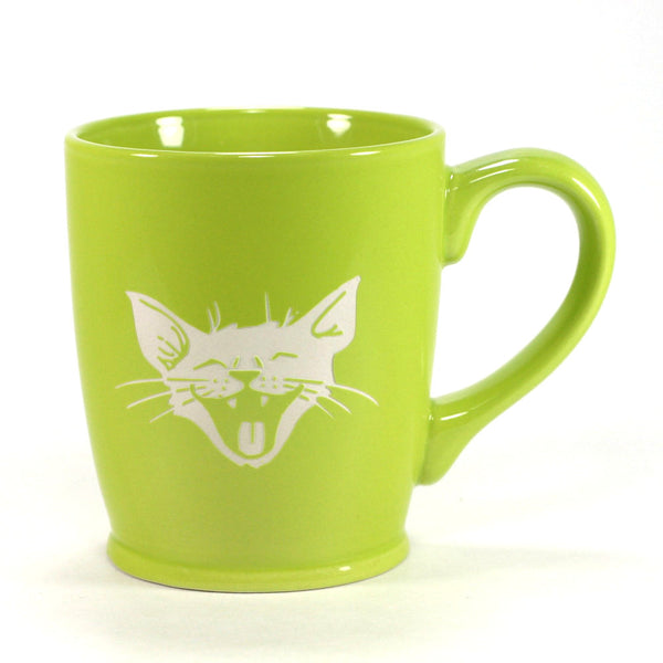 silly happy laughing cat coffee mug, green