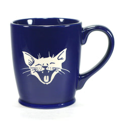 silly happy laughing cat coffee mug, navy blue