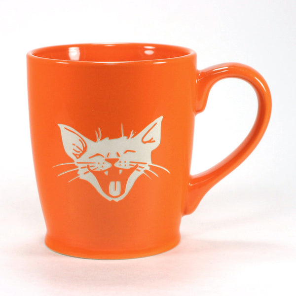 silly happy smiling cat coffee mug, orange