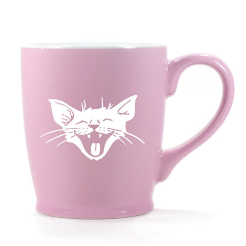 Pink Laughing Cat Mug by Bread and Badger