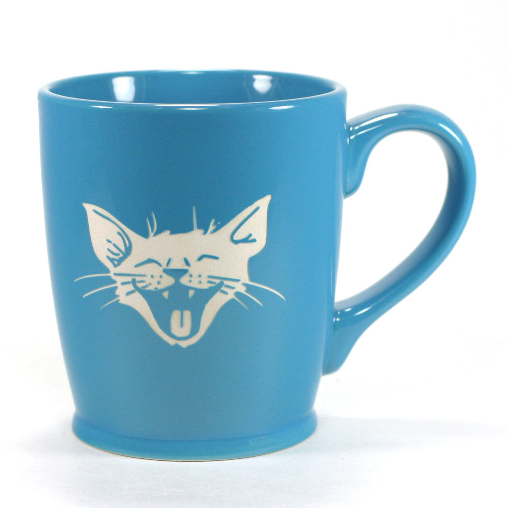 happy smiling cat coffee mug, sky blue