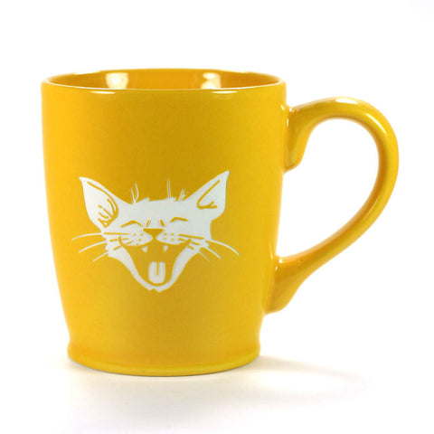 yellow gold laughing cat mug