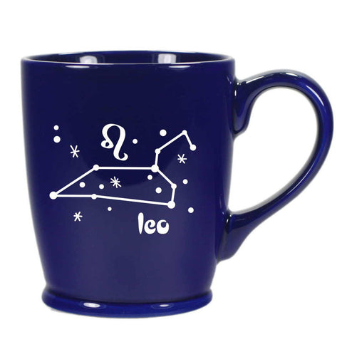 leo constellation mug, navy blue, by Bread and Badger