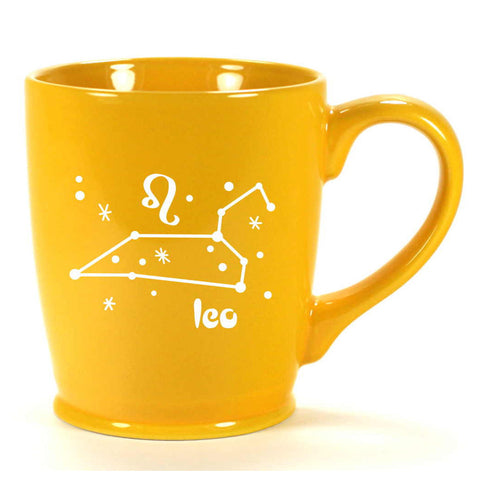 leo constellation mug, yellow, by Bread and Badger