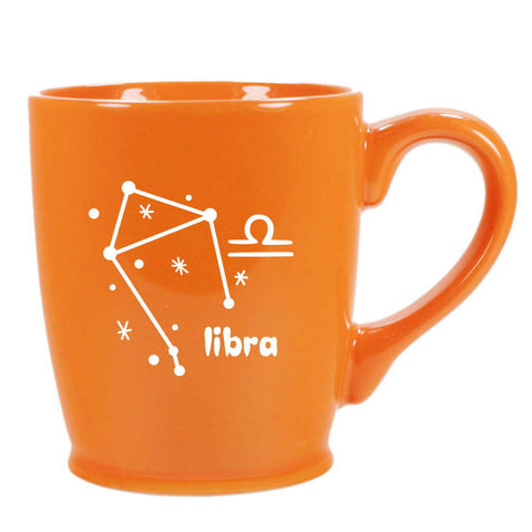 libra constellation mug, orange, by Bread and Badger