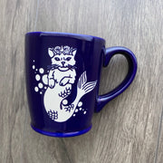 Mermaid Cat navy blue mug by Bread and Badger