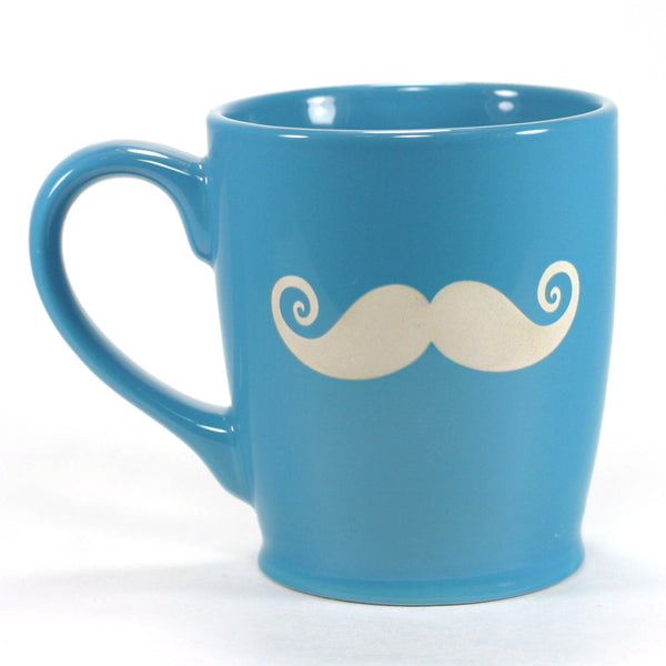 sky blue funny mustache mug, right handed