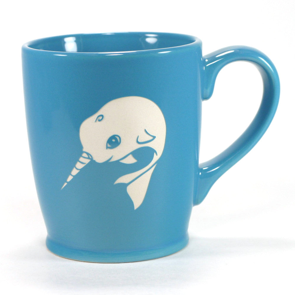 sky blue nautical narwhal mug