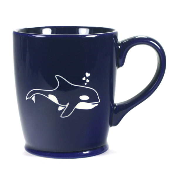 Killer whale mug, Standard Navy Blue, by Bread and Badger