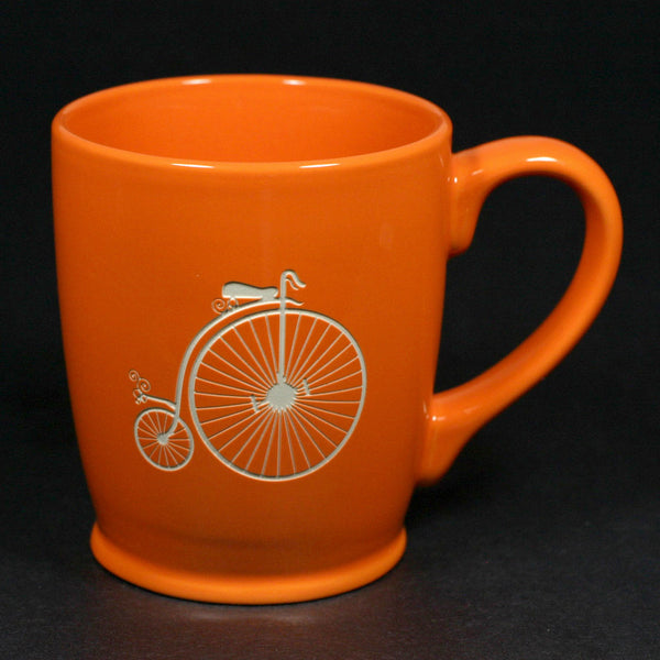 antique bicycle coffee mug, orange