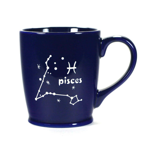 pisces constellation mug, navy blue, by Bread and Badger