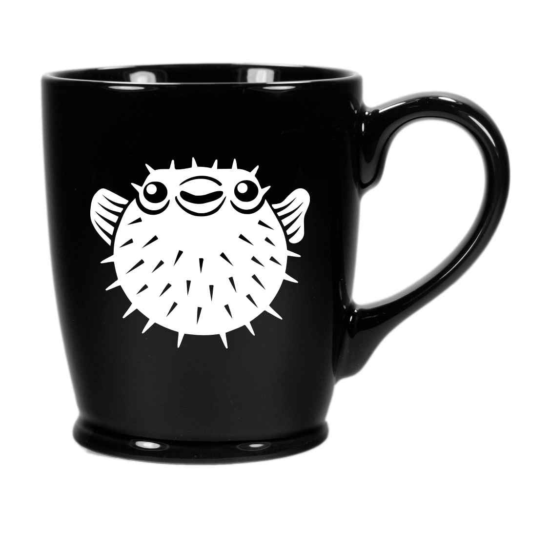 black pufferfish mug
