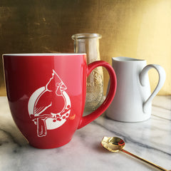 Cardinal Mug in Red and White with Handle - Engraving is Dishwasher-Safe, Microwave-Safe