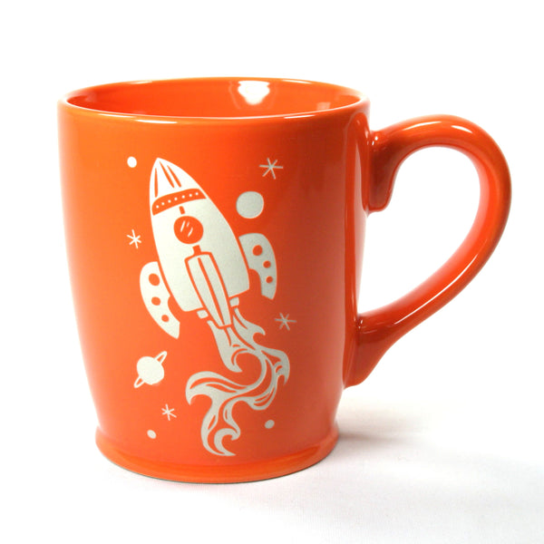 Orange rocket ship mug