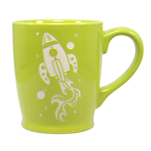 green rocket ship mug
