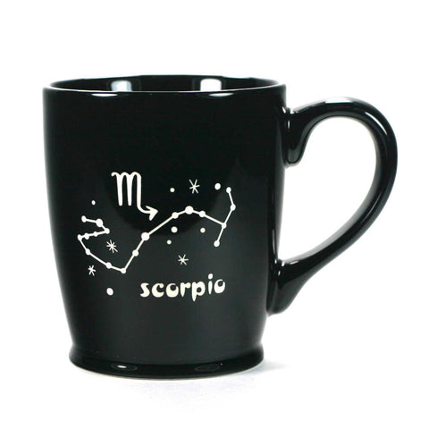 scorpio constellation mug, black, by Bread and Badger