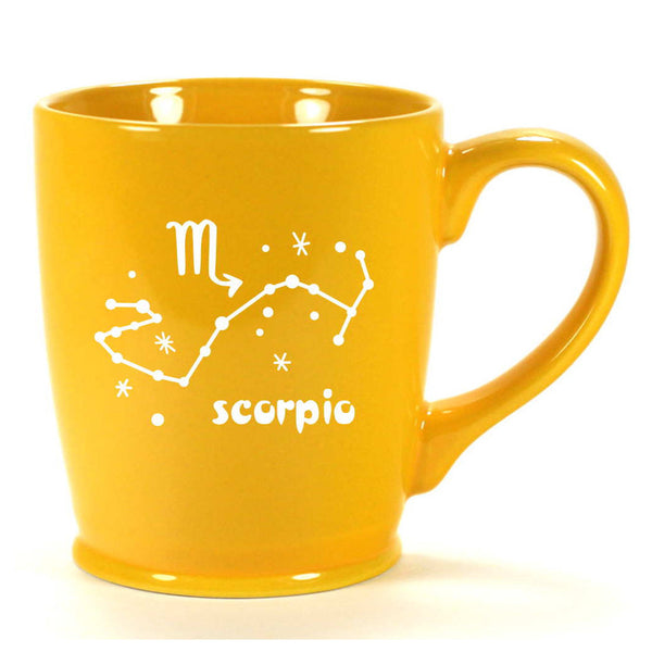 scorpio constellation mug, yellow, by Bread and Badger