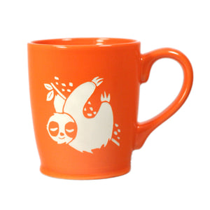 Sloth coffee mugs in orange