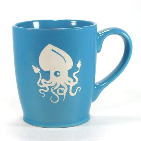 nautical squid mug, sky blue