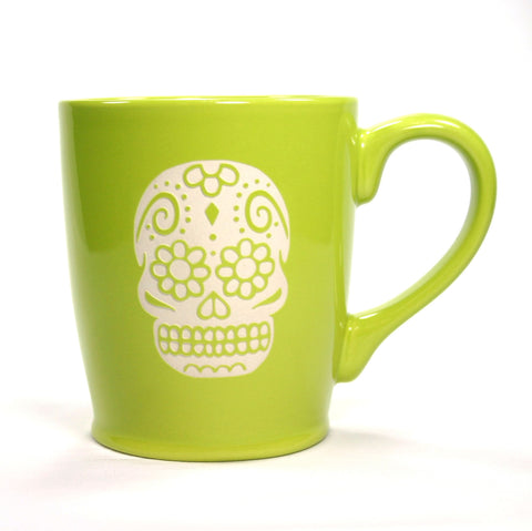 Celery Green Day of the Dead coffee mug