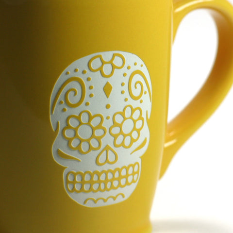 Yellow Gold Day of the Dead coffee mug, detail