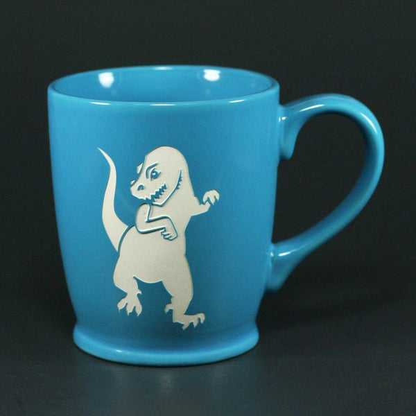 T-rex sky blue mug by Bread and Badger