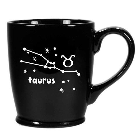 taurus constellation mug, black, by Bread and Badger
