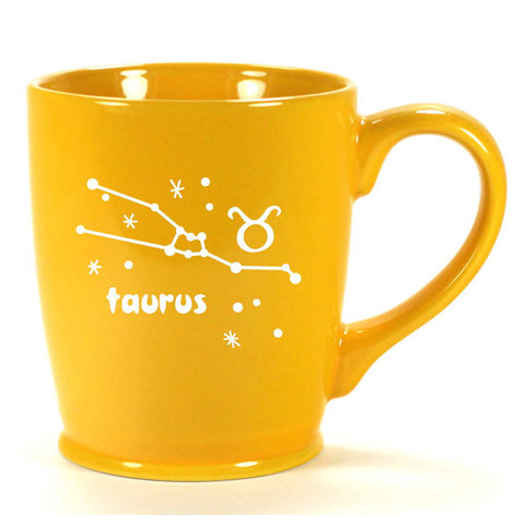 taurus constellation mug, yellow, by Bread and Badger