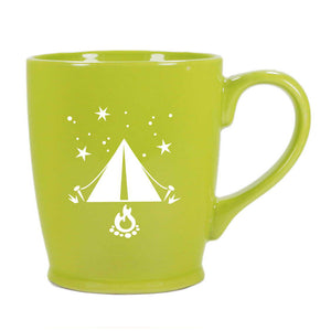 Tent camping mug in celery green by Bread and Badger