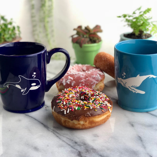 Orca and Humpback whale mugs by Bread and Badger