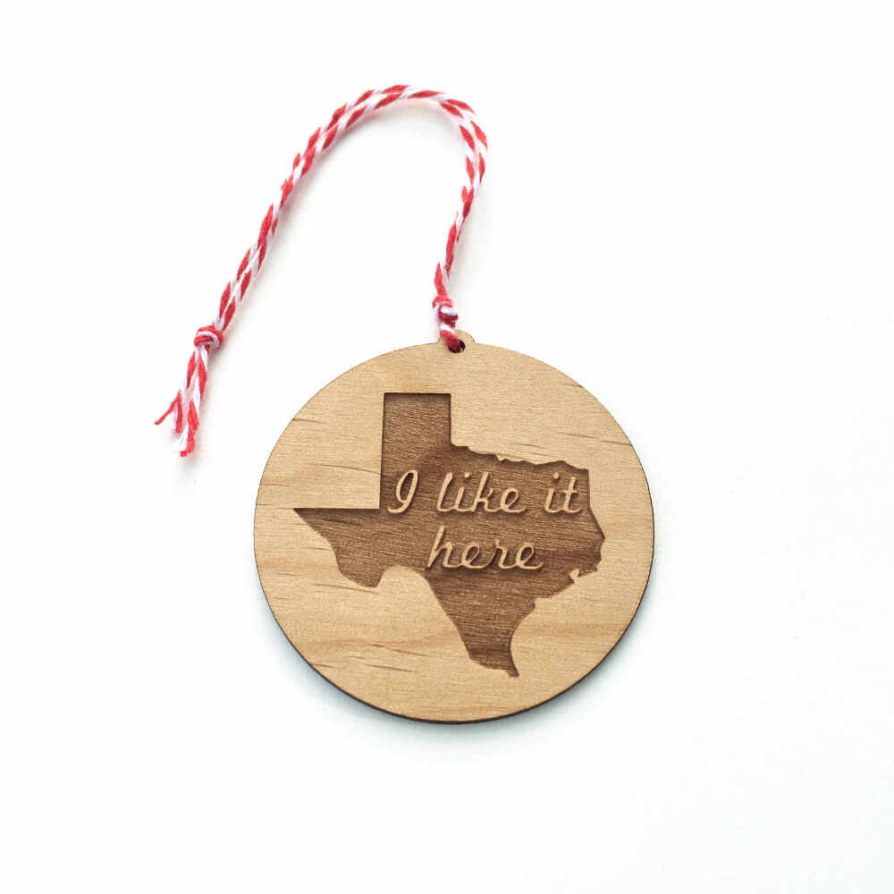 Texas state laser-cut wooden Christmas ornament