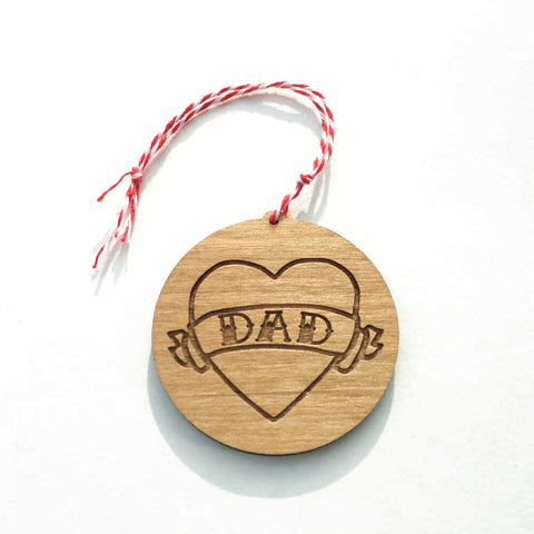 Dad tattoo heart Christmas ornament