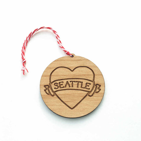 Seattle tattoo heart Christmas ornament