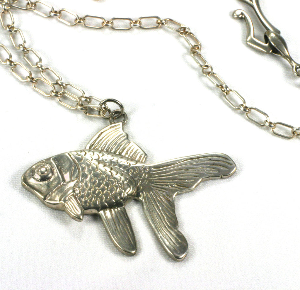 "Shiny Goldfish pendant on 16"" sterling silver chain"