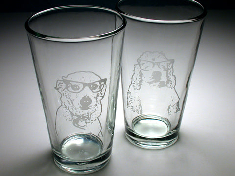 custom dog portrait pint glasses by Bread and Badger